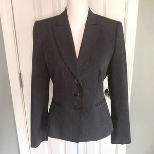Tahari fitted black pin stripe career blazer,  6